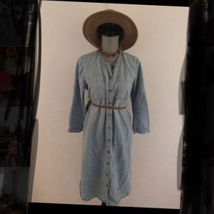 Jean Button up dress with belt loops